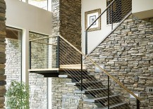Contemporary staircase with a water fetaure underneath