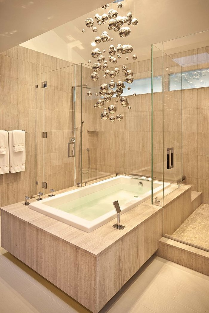 Cool Chandelier Brings Metallic Magic To The Minimal Bathroom Design Wood Construction