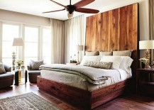 Cool headboard brings an interesting visual to the bedroom