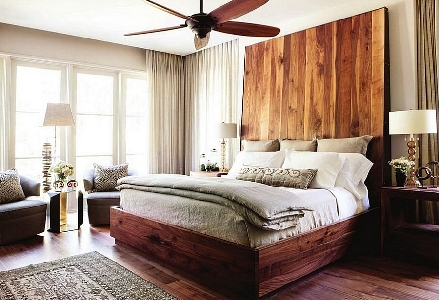 Cool headboard brings an interesting visual to the bedroom [Design: Castro Design Studio]