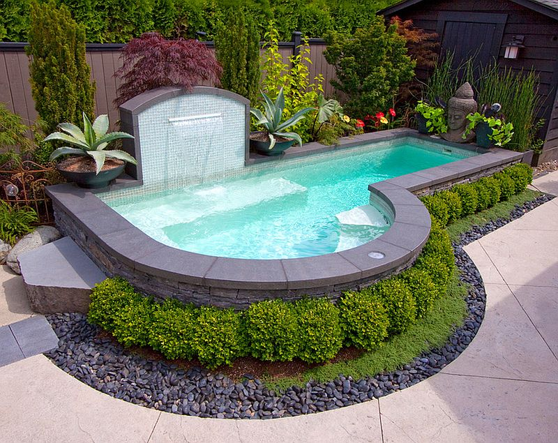 ... Cool off this summer in your small backyard pool [Design: Alka Pool  Construction] - 23+ Small Pool Ideas To Turn Backyards Into Relaxing Retreats