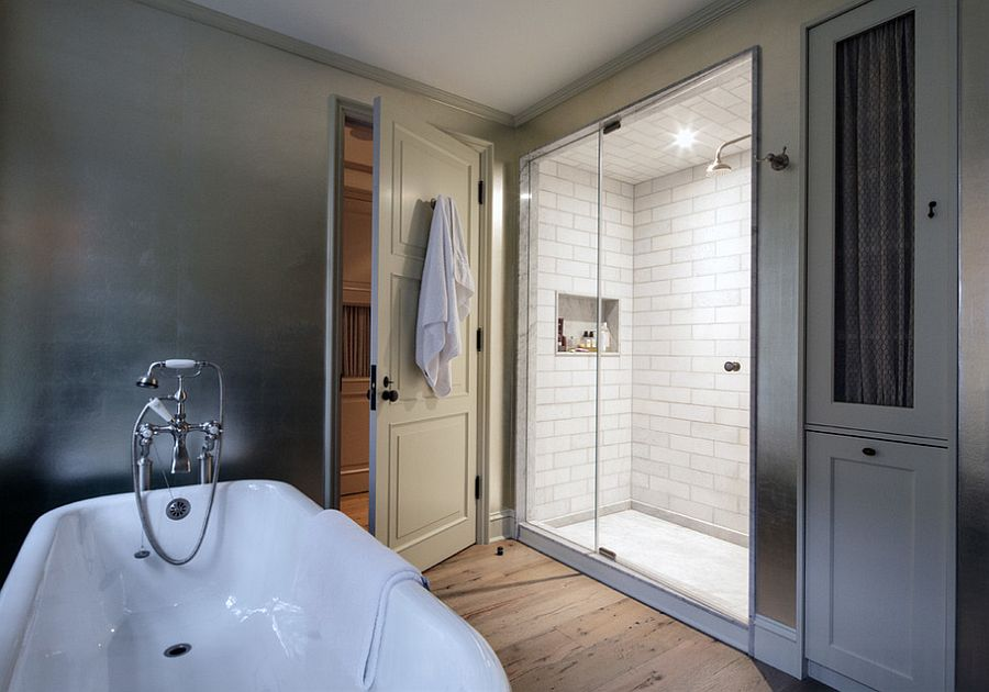 Cool shower area of the traditional bathroom
