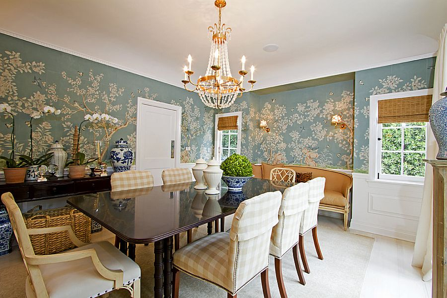 Covering half the wall with wallpaper is a popular choice in the dining room