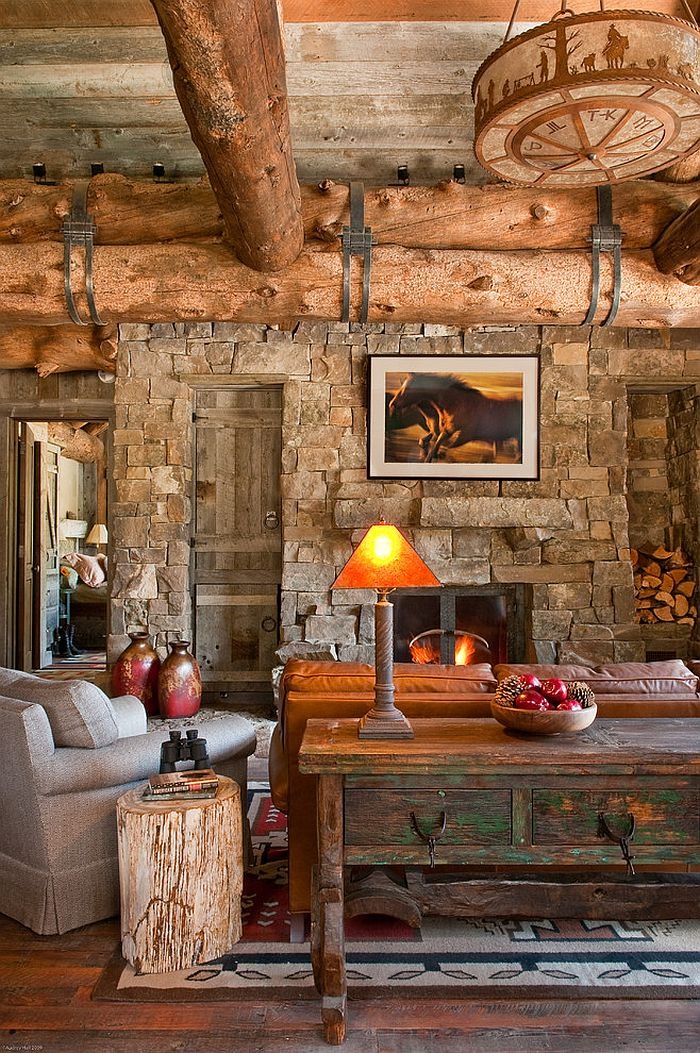 Cozy living area of the exquisite cabin in Big Sky, Montana