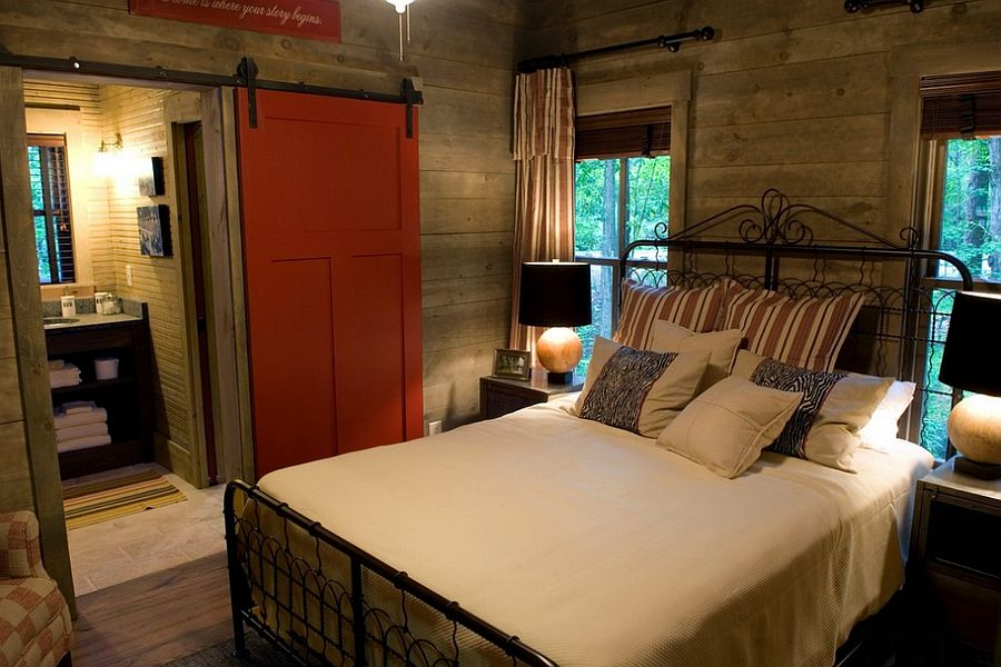 Craftsman style bedroom with a hint of vivacious red [Design: Pine Mountain Builders]