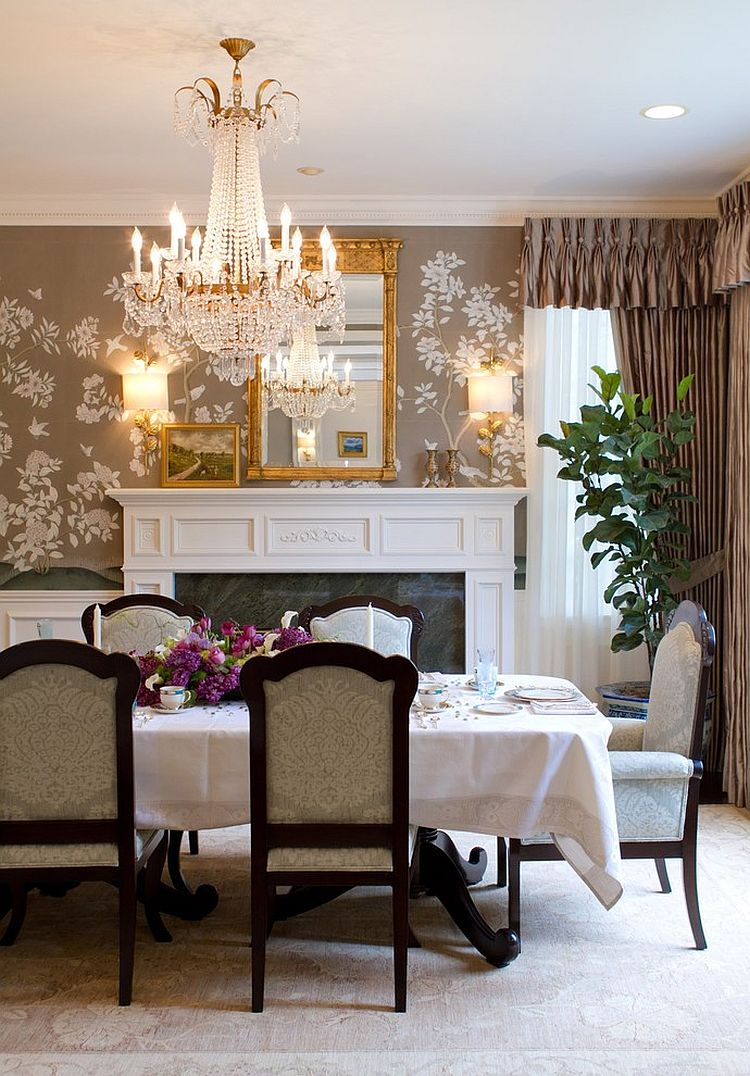 27 splendid wallpaper decorating ideas for the dining room for Wallpaper accent wall ideas living room