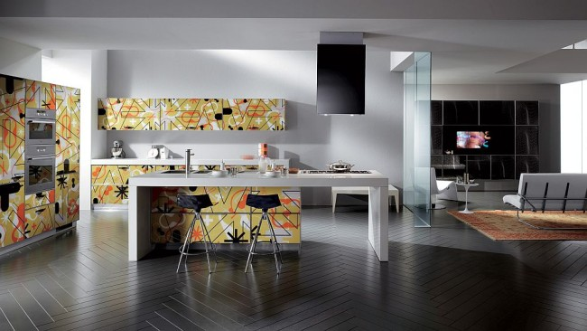 kitchen and living spaces display inspired silkscreen printi