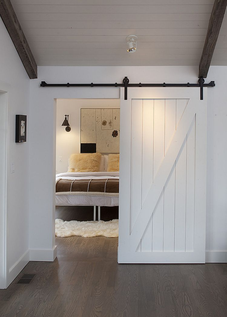 View in gallery Custom barn door for the contemporary bedroom [Design:  Artistic Designs for Living, Tineke