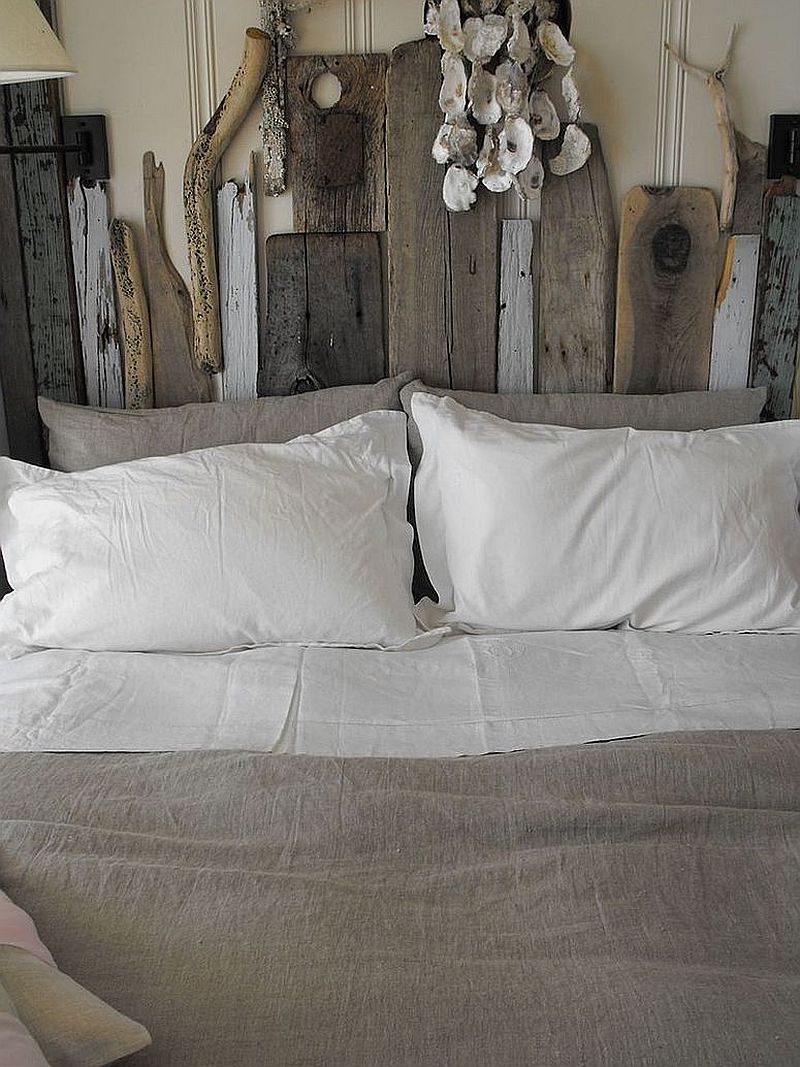 Custom driftwood headboard that you can make at home [Design: Rough Linen]