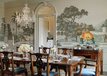 Custom handmade wallpaper in the Victorian style dining room