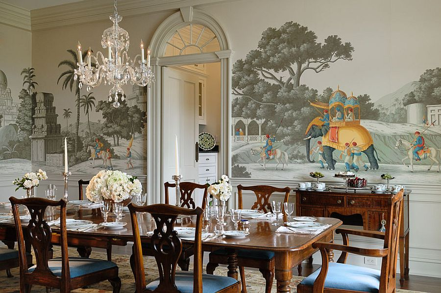 Custom handmade wallpaper in the Victorian style dining room [Design: Crisp Architects]