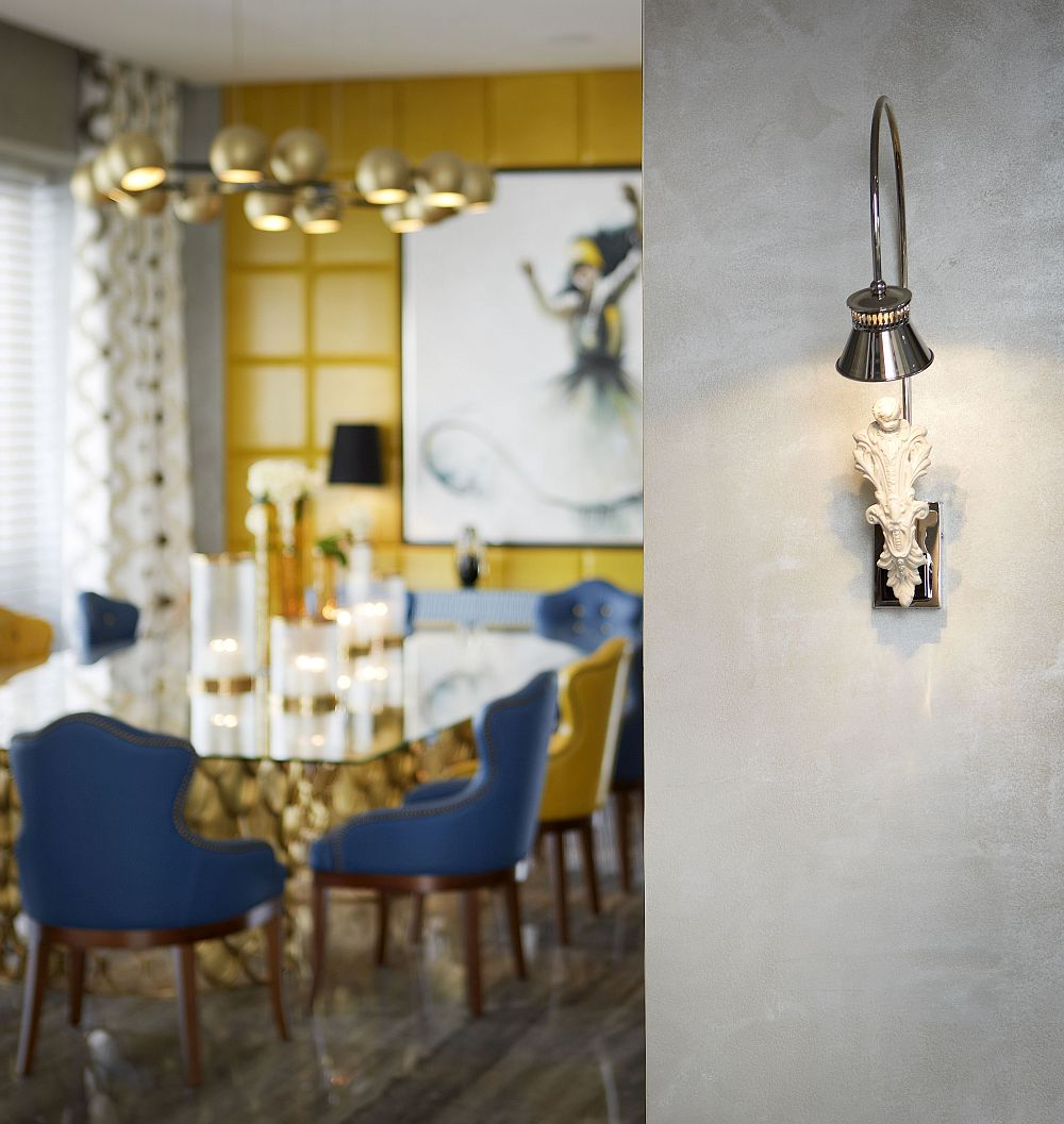 Custom lighting fixtures and brilliant accessories add uniqueness to the opulent villa