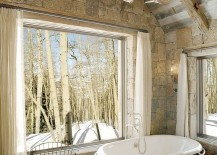 Custom made chandelier in the rustic bathroom moves away from glass 217x155 25 Sparkling Ways of Adding a Chandelier to Your Dream Bathroom