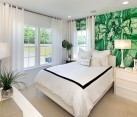 Custom made wall mural in the bedroom inspired by Malachite