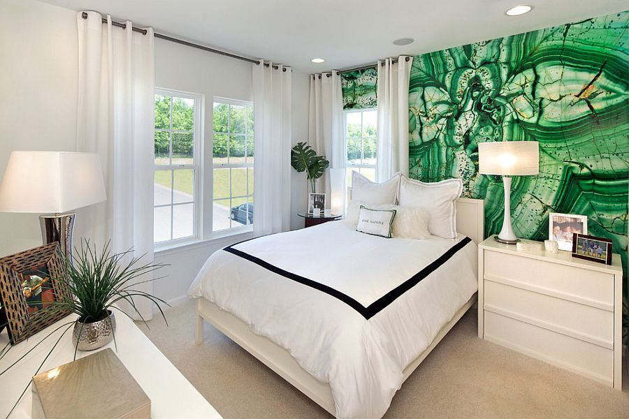 Custom made wall mural in the bedroom inspired by Malachite [Design: Carlyn And Company Interiors + Design]