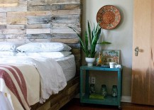 Custom pallet wood bed with a gorgeous headboard