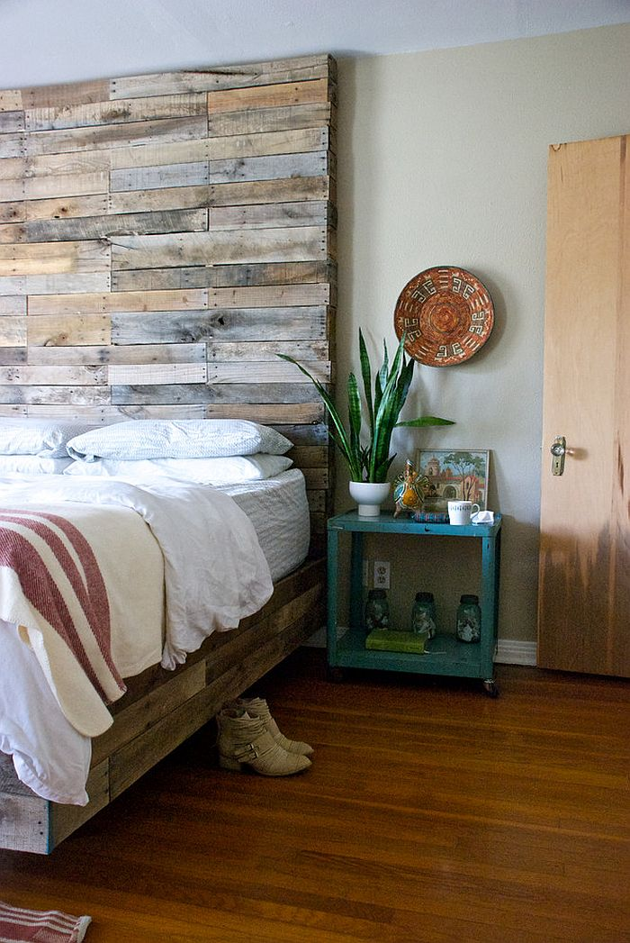 Custom pallet wood bed with a gorgeous headboard [Design: Our Style Interiors]