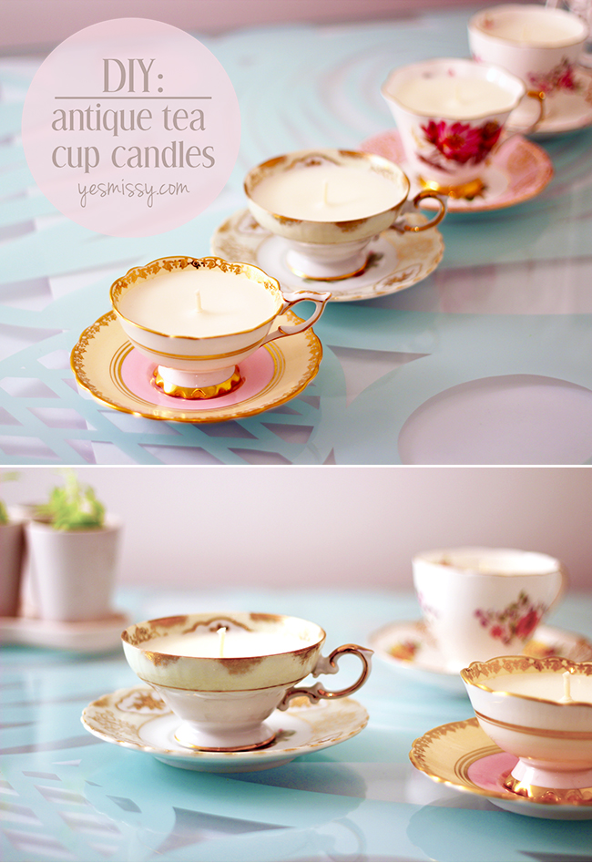 DIY Antique Teacup Candles