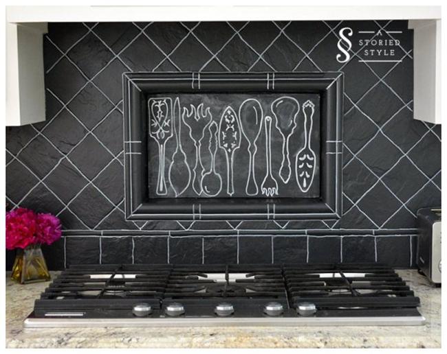 DIY Painted Blackboard Backsplash