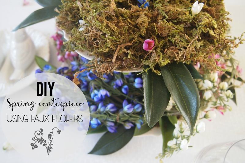 DIY Spring centerpiece using faux flowers