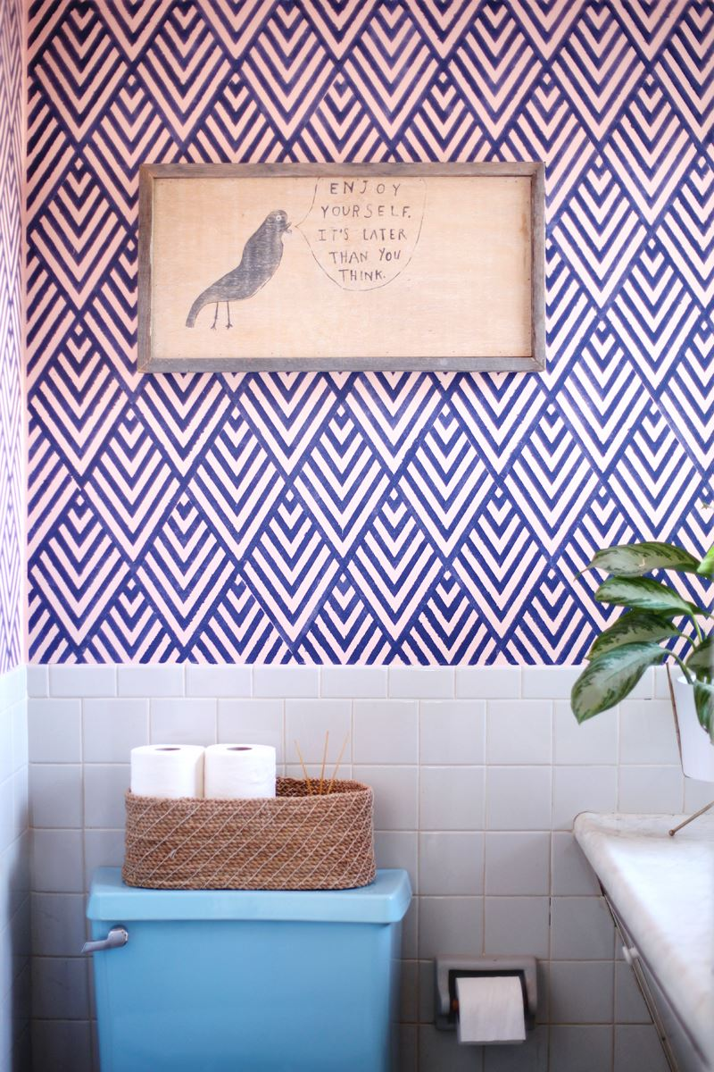 DIY stenciled wall from A Beautiful Mess