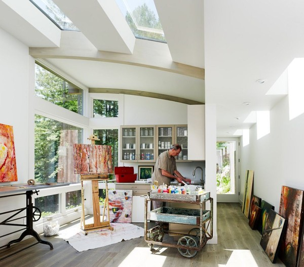 25 Captivating Ideas For Kitchens With Skylights: Small Home Office With Slanted Roof And Skylight