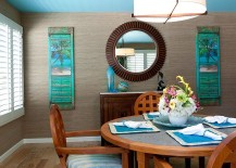 Dashing tropical style dining room with blue ceiling