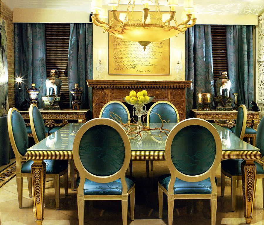 View In Gallery Dazzling Dining Room Blue And Gold With Custom Drapes Decor Design Coleccion