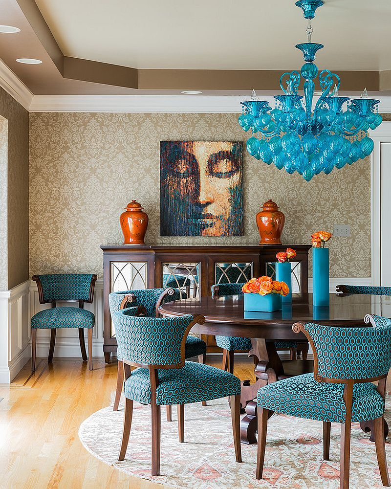 decorate your dining room with the brilliance of blue design ana donohue interiors - Colorful Dining Room Tables