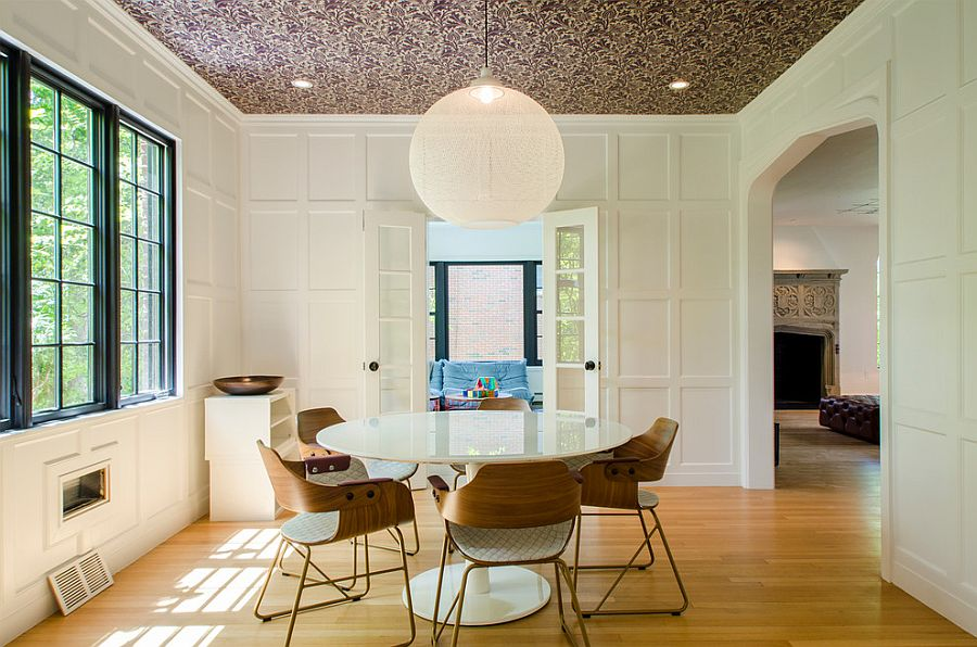 Design of the dining room puts the focus on wallpapered ceiling [Design: Sleeping Dog Properties]