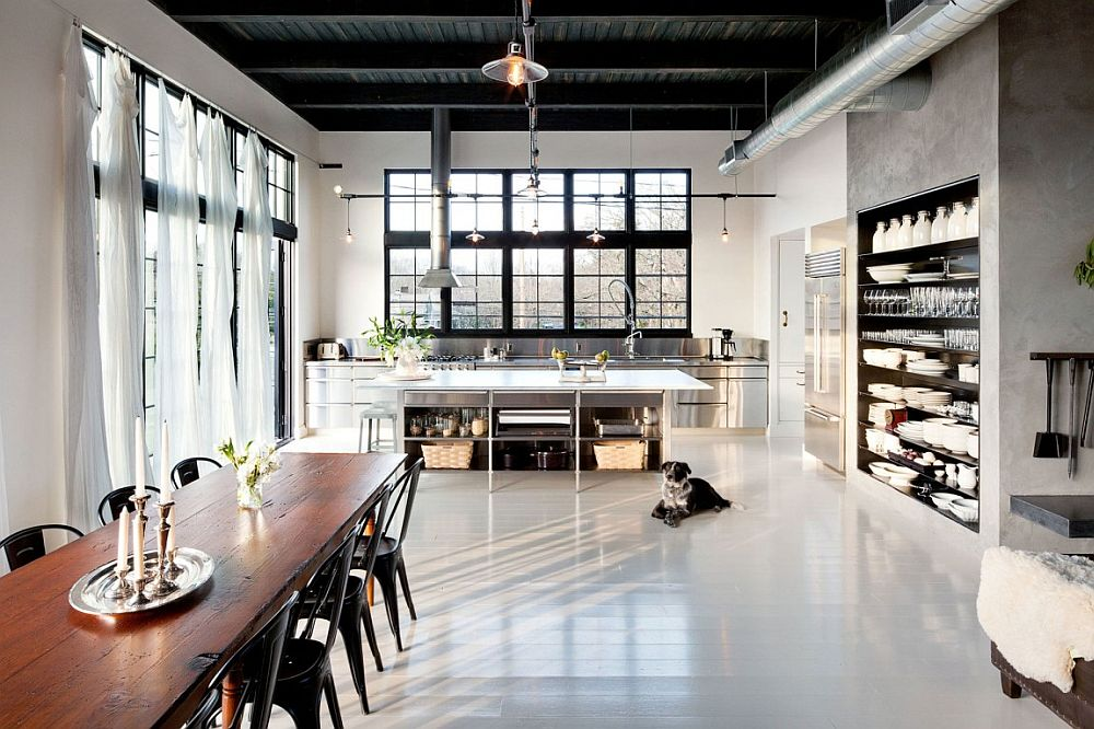 Energy efficinet portland home with vintage industrial style for Industrial flooring for homes