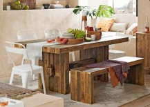 Dining room with a reclaimed wood table 217x155 18 Eclectic Dining Rooms with Boho Style