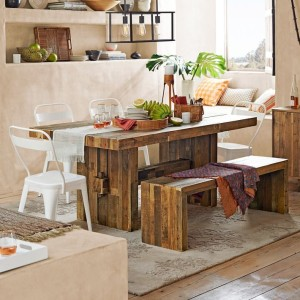 Dining room with a reclaimed wood table
