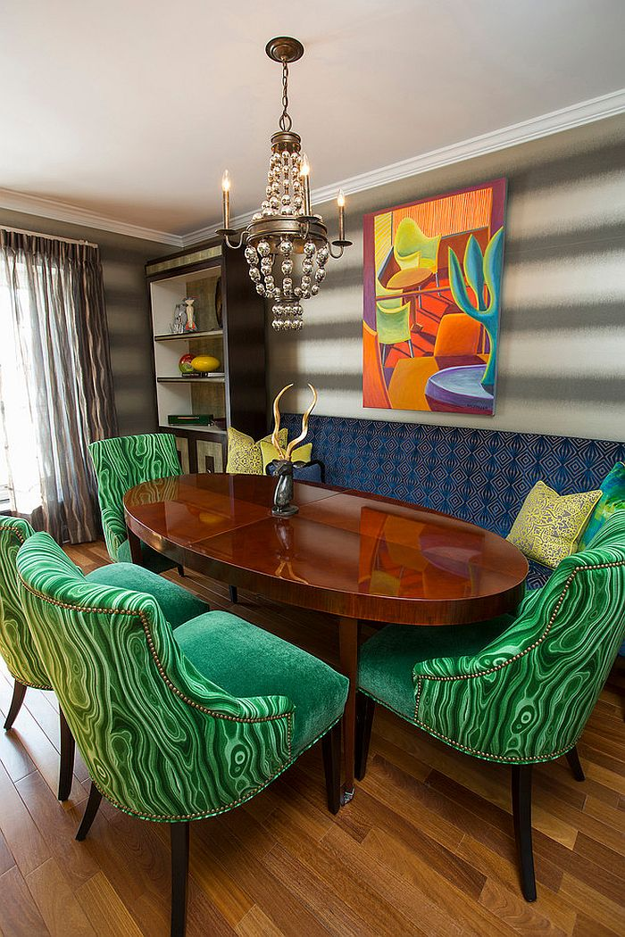 Dining table chairs add emerald green to the setting [Design: Lee Meier Interiors]