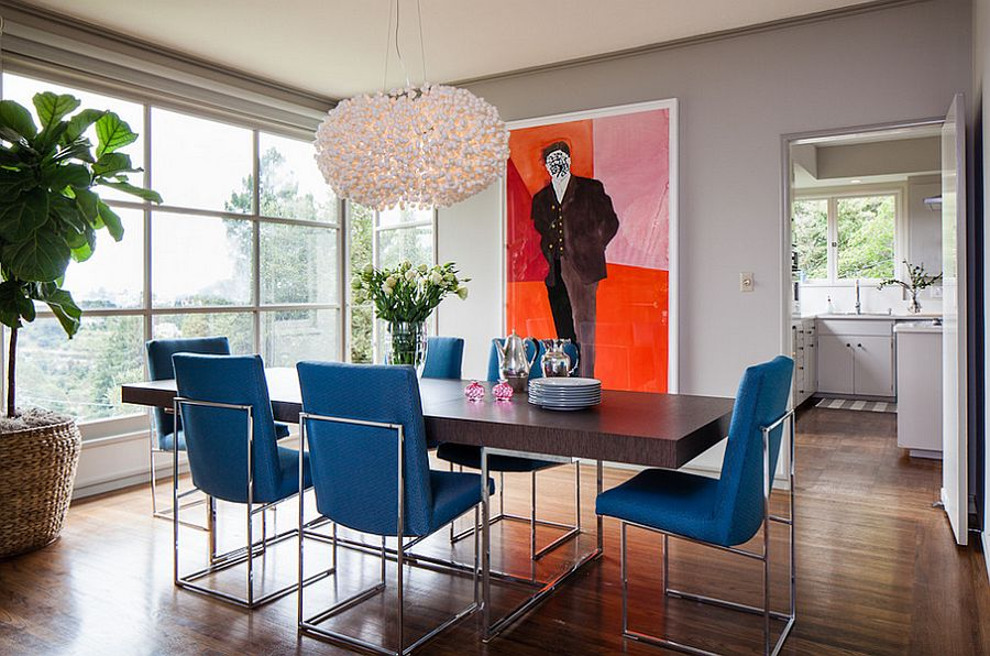 Dining table chairs bring the blue into this lovely contemporary setting Design Cheryl Burke Blue Rooms 18 Exquisite Inspirations Tips