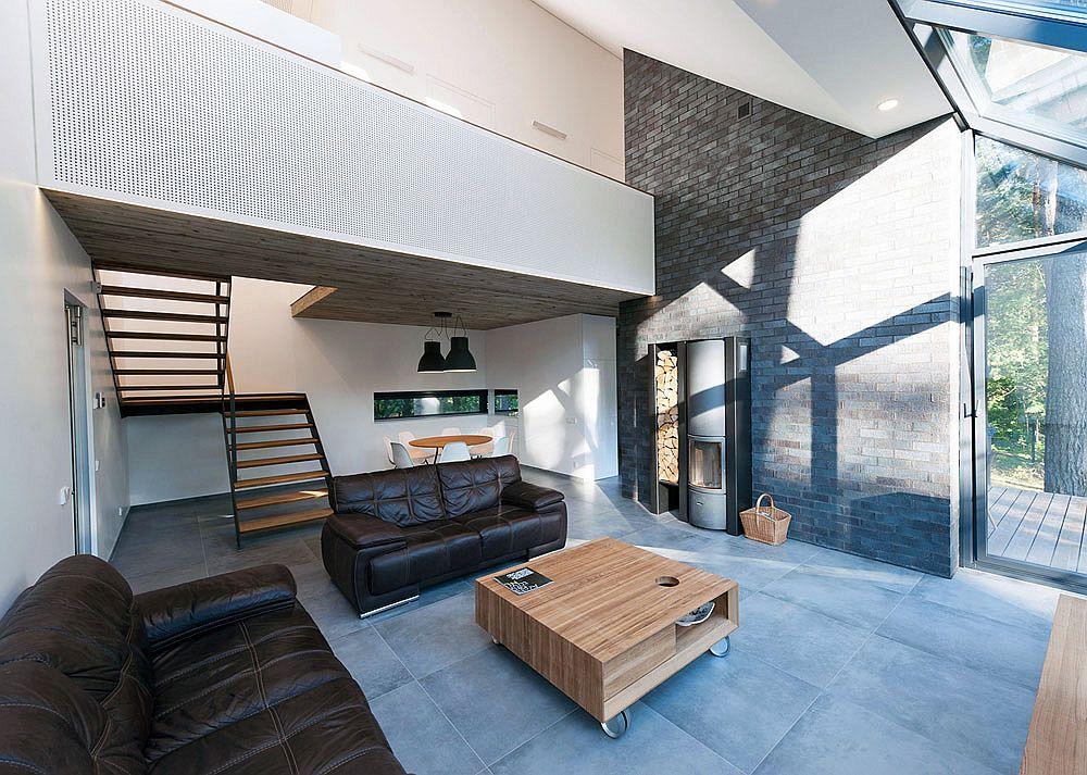 Double-height living room with a lavish Mezzanine level
