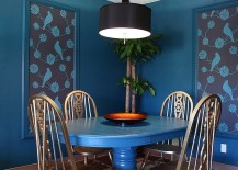Eclectic dining room welcomes you into a world of blue!