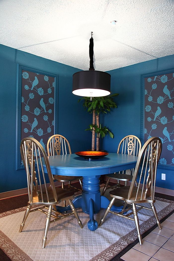 eclectic dining room welcomes you into a world of blue from houzz - Colorful Dining Room Tables
