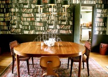 Eclectic-dining-room-with-a-unique-wallpapered-backdrop-217x155