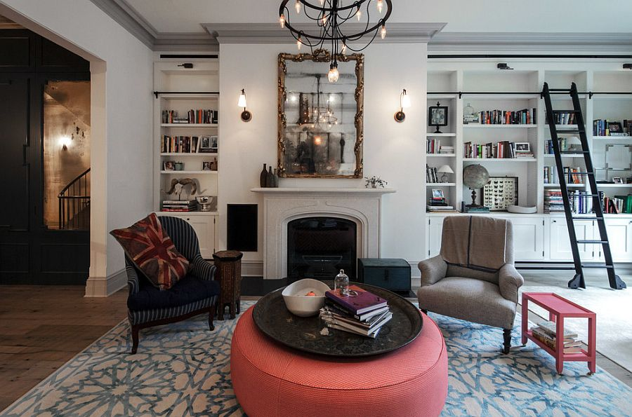 Eclectic living room of the revitalized New York City Townhouse