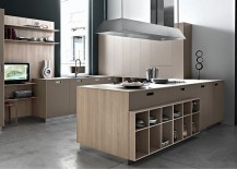 Elegant kitchen island with open shelves and ample cabinet space