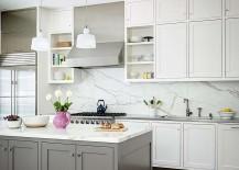 Elegant use of marble backsplash in the kitchen