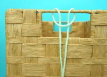 Embellish your gift basket handles with yarn