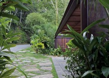 Entrance to the private house is concealed by natural greenery