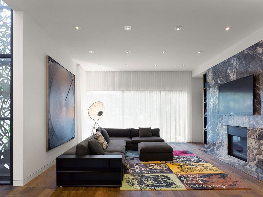 View In Gallery Exquisite Living Area Of The Ontario Home With Oversized Floor Lamp