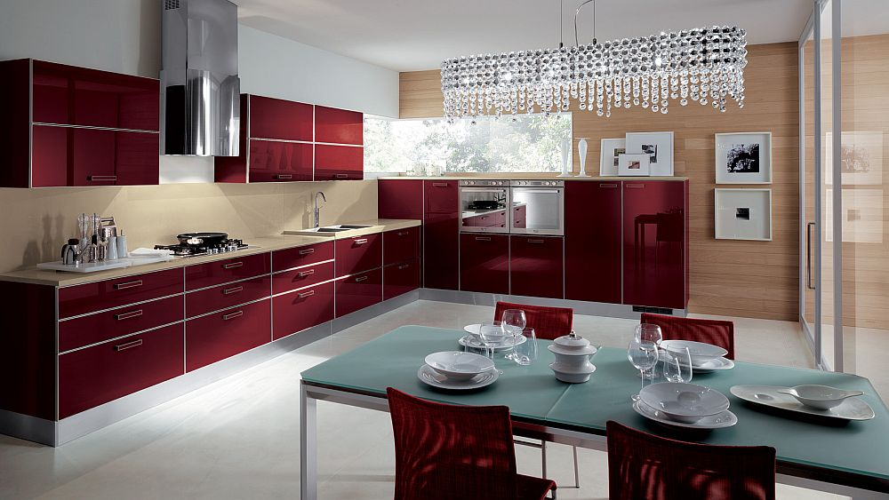 Exquisite use of hot red in the kitchen