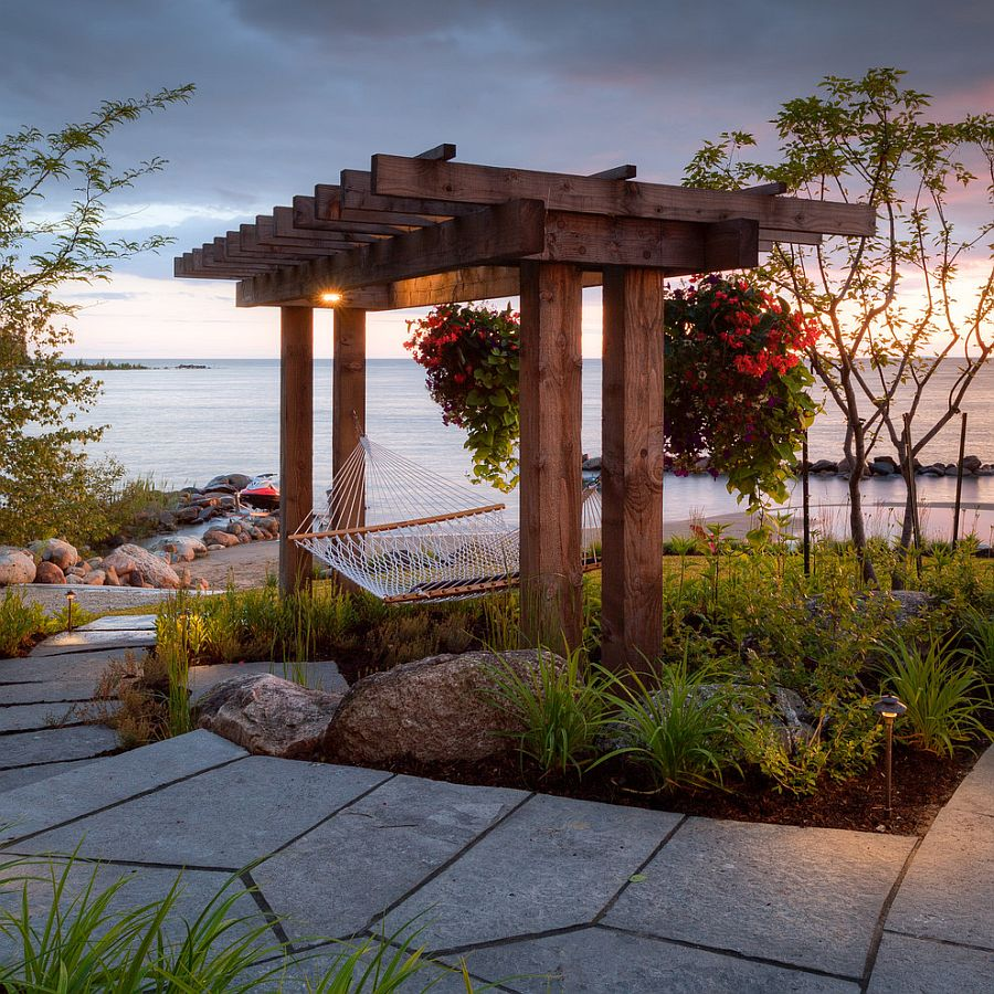 Fabulous beach style patio with a hammock [Design: The Landmark Group / McNeill Photography]
