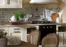 Fabulous combination of stone, wood and metal inside the Italian kitchen