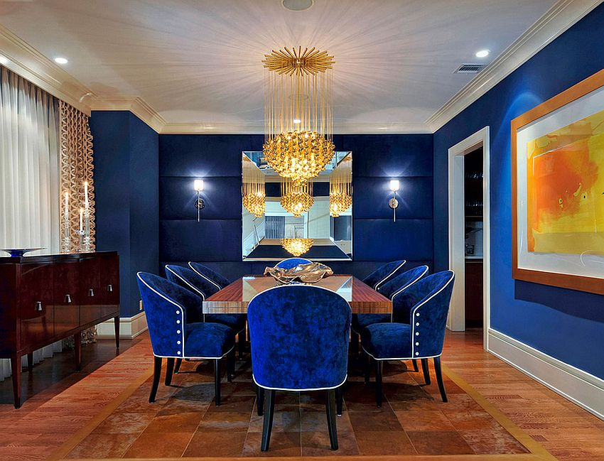 View In Gallery Fabulous Dining Room In Captivating Royal Blue [Design:  Carolyn Miller Interiors]