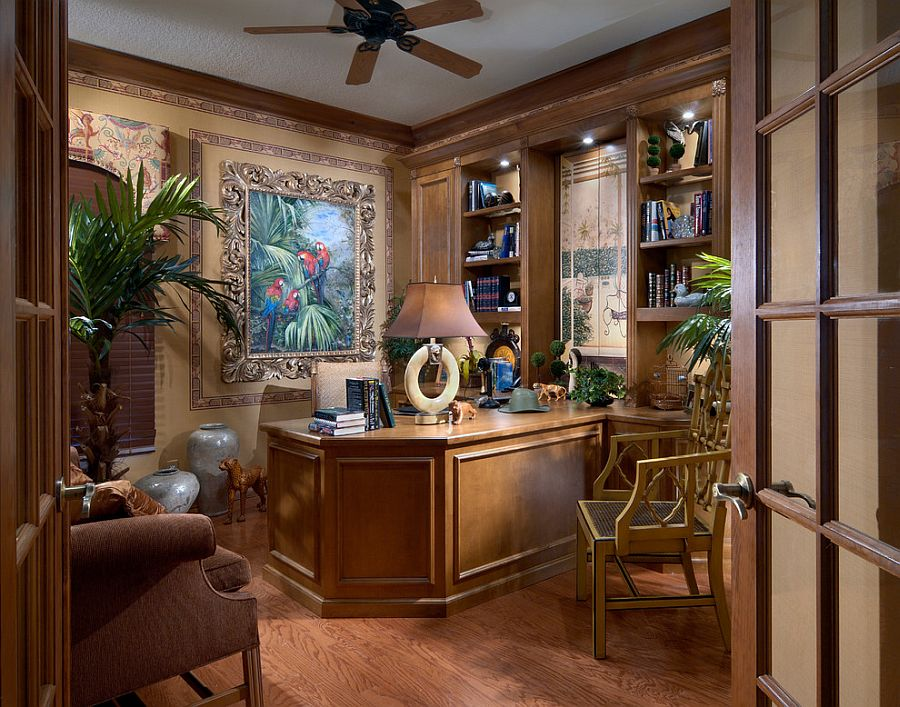 Fabulous home office design oozes with tropical flair 10 Ways to Go Tropical for a Relaxing and Trendy Home Office